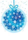 Snowflakes Around Christmas Ball_eps Stock Photography