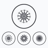 Snowflakes artistic icons. Air conditioning. Royalty Free Stock Images