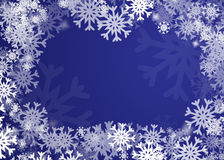 Snowflakes background. Blue snowflakes background or frame illustration Stock Photos