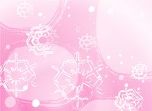 Snowflakes background. White snowflakes on a light pink background Stock Illustration
