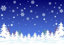 Snowflakes background. With christmas trees stock illustration