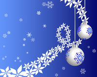 Snowflakes background. A snowflake background with christmas balls Royalty Free Stock Photos