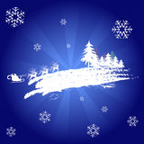 Snowflakes background. A snowflake background with santa and rudolph royalty free illustration