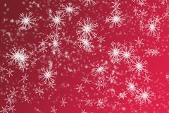 Snowflakes background. White snowflakes on red gradient background Royalty Free Stock Photography