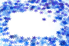 Snowflakes background. Bluel christmas snowflakes frame background vector illustration