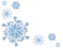 Snowflakes Background. 3D rendered beautiful blue snowflakes isolated on white background-ideally for Christmas postcards Royalty Free Stock Image