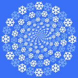Snowflakes background. The circle of white and blue snowflakes decreasing to the centre Stock Photography