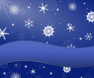 Snowflakes background and banner for text Royalty Free Stock Photo
