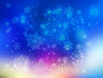 Snowflakes on a background of brightly blue sky with a pink sunset. Snowflakes are flown on a background of brightly blue sky with a pink sunset stock illustration