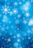 Snowflakes background. Decorative ornament with snowflakes on a blue background Royalty Free Stock Photos