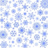 Snowflakes background in different shapes and sizes. Vector illustrations Royalty Free Stock Photography