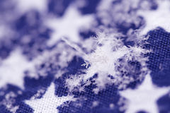 Snowflakes on a background a flag Royalty Free Stock Photography