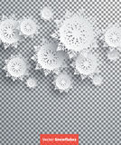 Snowflakes Background. Happy New Year. Snowflakes background for winter and New Year, christmas theme. Snow christmas, snowflake background, snowflake winter. 3D Royalty Free Stock Photography