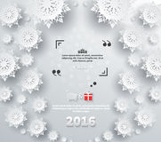 Snowflakes Background 2016 Quote Bubble. Snowflakes background for winter and new year, christmas theme. Snow, christmas, snowflake background, snowflake winter stock illustration