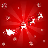 Snowflakes background - red. A snowflake background with santa and rudolph royalty free illustration