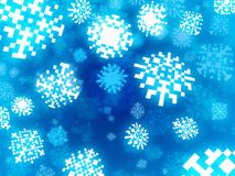 Snowflakes background in retro pixel style Royalty Free Stock Image