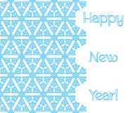Snowflakes background 14. Seamless winter pattern of blue snowflakes isolated on white background with the text `Happy New Year`. Vector illustration for New Stock Photos