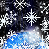 Snowflakes Background Shows Snowing From Sky And Cold. Snowflakes Background Showing Snowing From Sky And Cold Royalty Free Stock Images