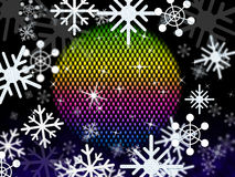 Snowflakes Ball Shows Colors Winter And Festivities Stock Photos
