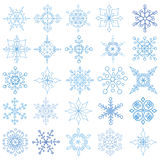 Snowflakes big set.Christmas,New year Stock Images