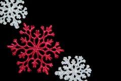 Snowflakes on black Stock Photos
