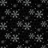 Snowflakes on a black background. Christmas seamless background. vector illustration