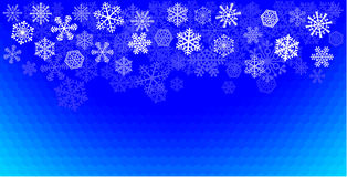 Snowflakes blue. Snowflakes arranged on a blue cellular background. No gradients used Stock Images
