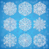 Snowflakes on blue background Royalty Free Stock Photos