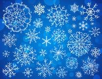 Snowflakes on blue background Stock Photo