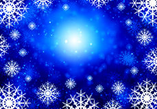 Snowflakes on blue. Background conceptual image with white snowflakes on blue background Stock Photography