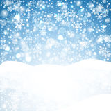 Snowflakes blue background. Geometric natural flakes shapes elements. Greetings banner winter holiday. Royalty Free Stock Photography