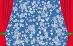 Snowflakes on blue background and red curtains Stock Photos
