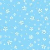 Snowflakes on blue sky - Christmas seamless backgr Stock Image