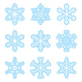 vector snowflakes - blue and white - set Stock Photos