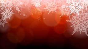 Snowflakes and blurry lights on dark red background. Great backdrop for winter or Christmas themes. Space your text. Snowflakes and blurry lights on dark red Royalty Free Stock Images