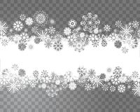 Snowflakes border on a transparent background for your Christmas design. Snowflakes border on a transparent background. Abstract snow background for your royalty free illustration