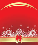 Snowflakes with bow on the red background Stock Photos