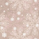 Snowflakes brown pattern. Ornamental postcard with light pink snowflakes Stock Images