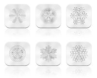 Snowflakes button Stock Photography