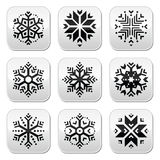 Snowflakes buttons set on black and white background Royalty Free Stock Photos