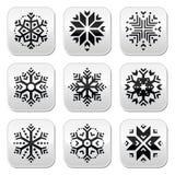 Snowflakes buttons set on black and white background. Winter Christmas buttons set- snowflakes isolated on white Royalty Free Stock Photos