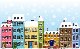 Snowflakes Cartoon Street Stock Images