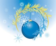 Snowflakes and Christmas ball. Holiday background Royalty Free Stock Images