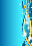 Snowflakes Christmas card. Made in illustrator cs4 on blue background with stars and golden ribbons Royalty Free Stock Photo
