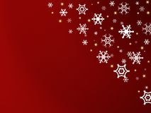 Snowflakes. Christmas card with snowflakes on red background Royalty Free Stock Photos