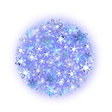 Snowflakes. Christmas circle background. Winter watercolor Stock Photo