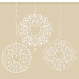 Snowflakes or Christmas decorations hanging in a row. Three mandalas like a snowflakes or Christmas decorations hanging in a row. Mehndi elements for tattoo vector illustration