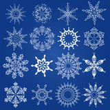 Snowflakes, Christmas design elements. On a blue background Royalty Free Stock Photography