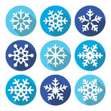 Snowflakes, Christmas flat design round icons Royalty Free Stock Photography
