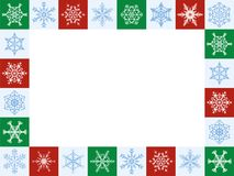 Snowflakes Christmas Frame Horizontal Red Green White. Snowflakes christmas frame, horizontal format - twenty-four artful red, green and white tiles - vector Royalty Free Stock Images